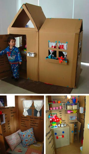 I really want to make Lilly a cool cardboard house and I have a ton of boxes. Not sure if I can get this elaborate or not though.