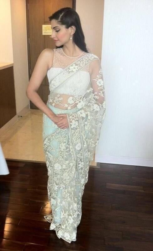 Sonap Kapoor in white cream sari