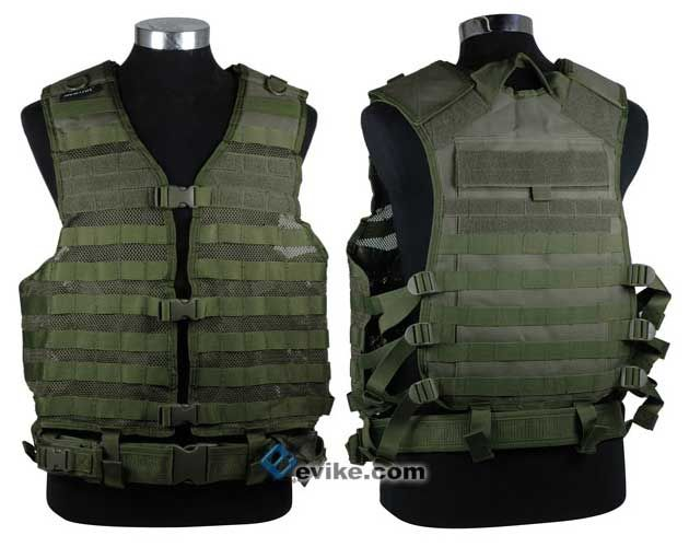 NcSTAR Tactical MOLLE Vest w/ Hydration Pouch and Pistol Belt. (OD)
