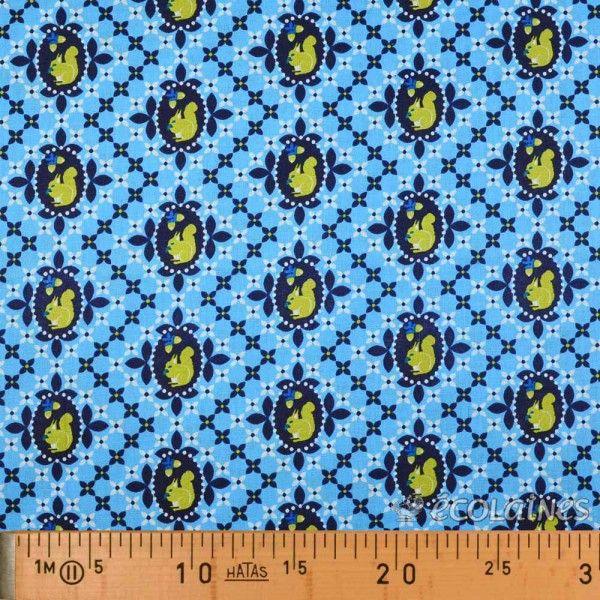 Tissu écureuil bleu doux marine