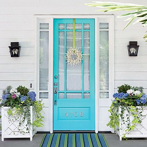 Perfect front door color turquoise beautiful white square planter boxes and side by side door lanterns. Nice striped blue green white mat in front of the ... & 20 best Great Front Doors for Beach House images on Pinterest ... pezcame.com