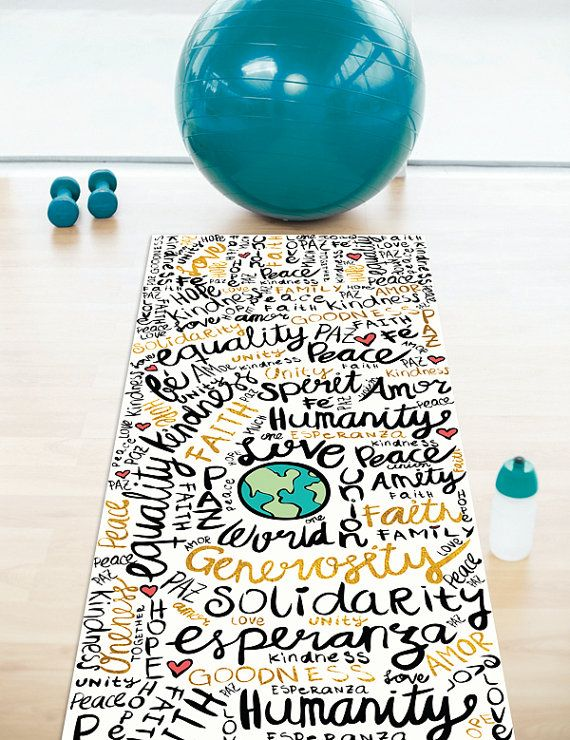 Positive Messages Yoga Mat by PomGraphicDesign on Etsy