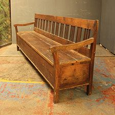 Benches/Seating   A Long Box Settle Or Box Bench Unusual In That It Is  Unpainted. The Pine And Fruitwood From Which It Is Constructed Has Achieved  A Rich ...