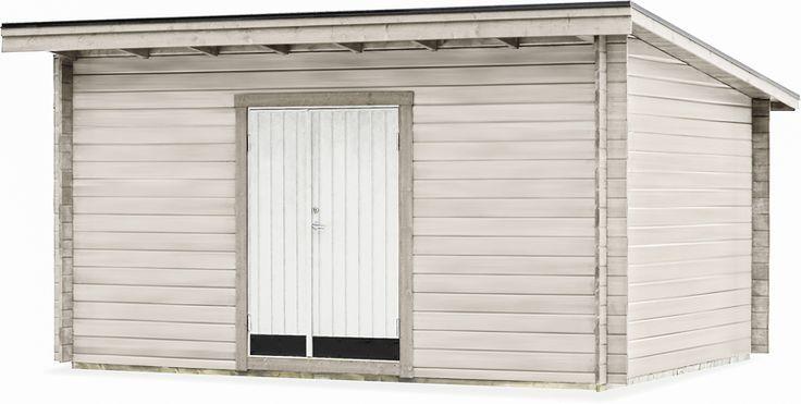 Förråd Lida 15 N Ett rymligt knuttimrat förråd med färdigkapade takåsar och isolerad dubbeldörr (13 x 19 10° med trycke och lås). Dörren placerar du efter eget önskemål på framsidan. Ventilationsgaller och spik/skruvsats medföljer. Golv, isolersats, plåt- och taksats finns som tillval.