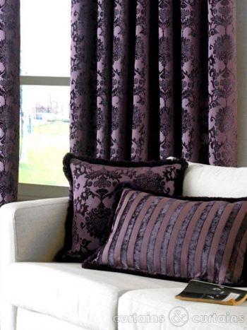 Dulux Luxury Cut Velvet Damson Purple Cushion - Cushions UK