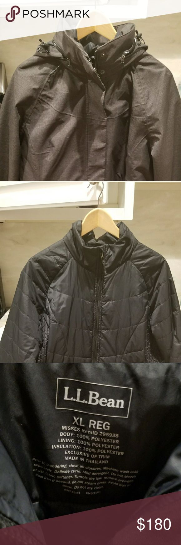 LL Bean Women's 3-in-1 Coat XL This coat is in PERFECT condition! No flaws or worn areas at all. Less than a year old and only worn about 4-5 times total and well-cared for.   An excellent, super warm coat. Inner and outer coat can be worn separately or combined with a zipper for extra warmth.   See official LL Bean description - original price is $279 https://www.llbean.com/llb/shop/88204?feat=504728-GN2&page=all-season-3-in-1-coat&csp=f  This coat is the Black / Black combo (though in…