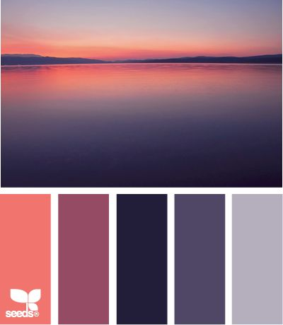 Color: Setting Hues by Design Seeds - coral, medium purple, deep purple, purple, lavender.