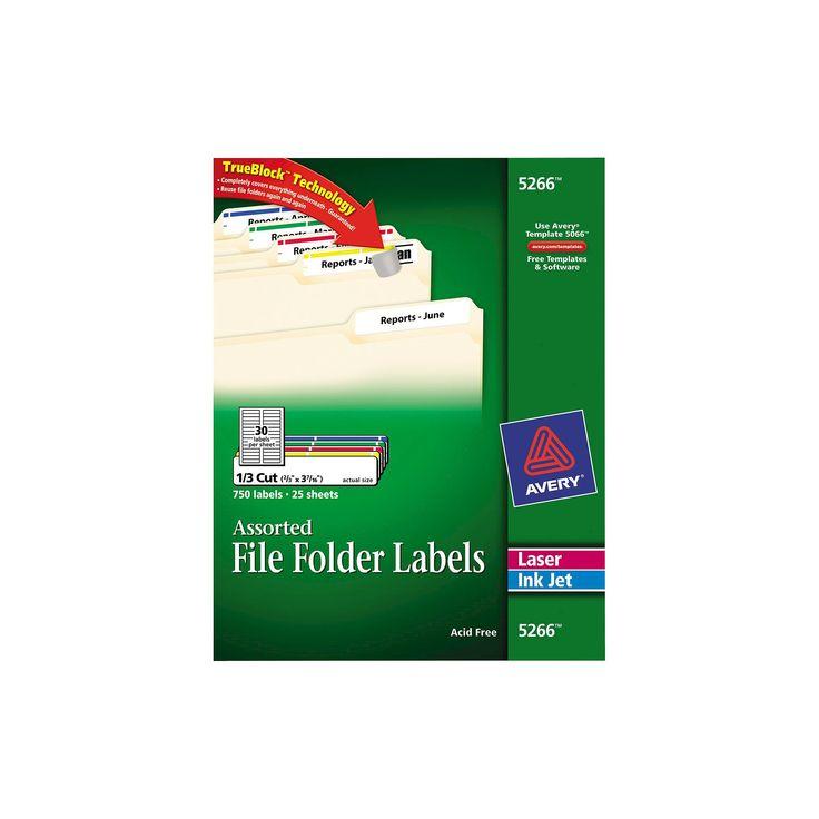 Avery Laser/Inkjet Permanent Adhesive File Folder Labels - Assorted (750 Per Pack)