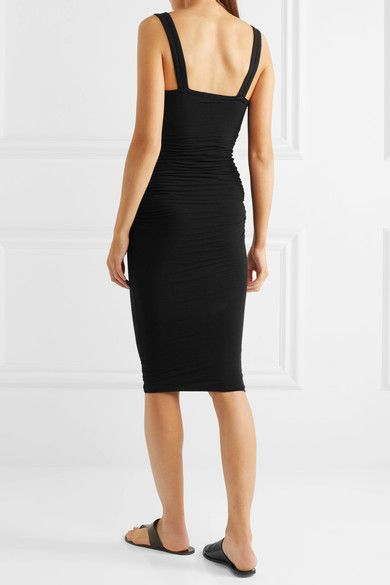 James Perse - Ruched Stretch-cotton Jersey Dress - Black - 3