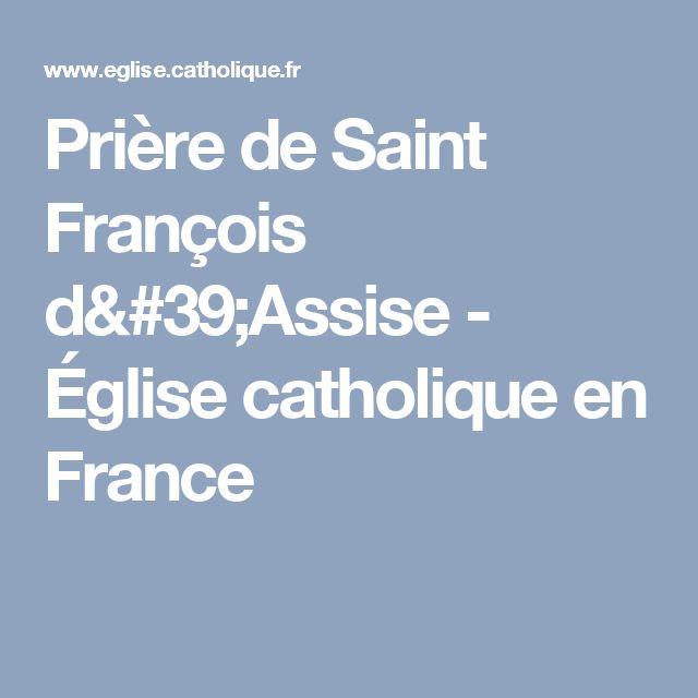 Prière de Saint François d'Assise - Église catholique en France
