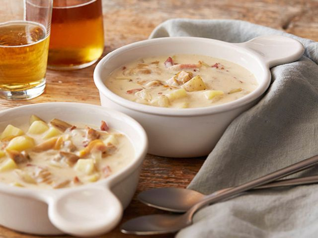 New England Clam Chowder Recipe : Dave Lieberman : Food Network  Sub tapioca starch for flour. Add 1/2 lb chopped and cooked bacon while chowder simmers.