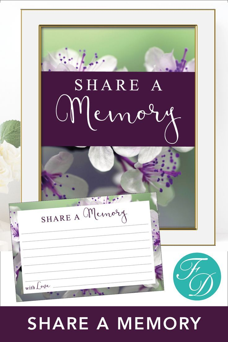 Share A Memory Sign And Card Memorial Cards Celebration Of
