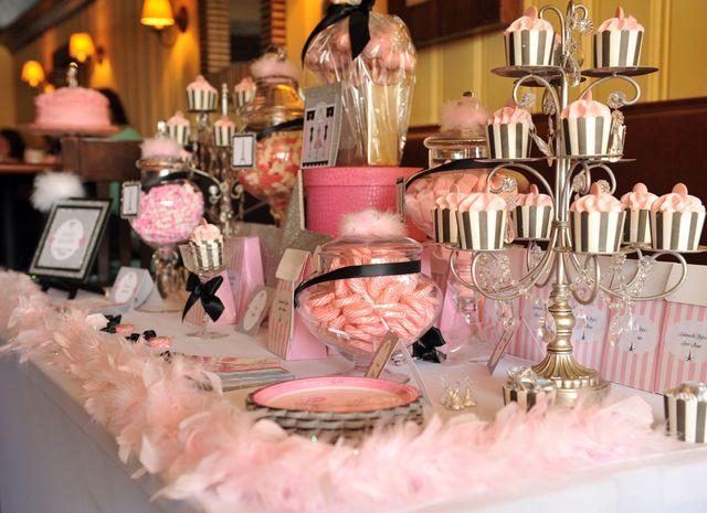 "candelabra as cupcake display-Photo 2 of 12: Parisian Fashion Show / Birthday ""Rhylee's Parisian Fashion Show""   Catch My Party"