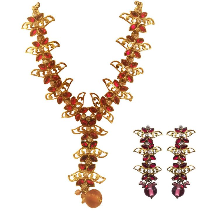 Pink Gold Stone Color Long Necklace Matching Earrings NEW Fashion Jewelry SET | eBay