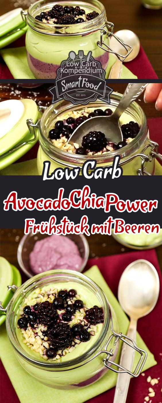 Avocado-Chia-Power-Frühstück mit Beeren – Low-Carb & schnell gemixt. Die Avocado ist die Low-Carb Frucht schlechthin und Chia-Samen als Powerfood liegen voll im Trend. Wir haben für dich aus der Avocado als gesunde Hauptzutat, aus Chia-Samen, erfrischendem griechischen Joghurt und blauen Beeren ein leckeres Power-Frühstück gezaubert, dass Du bei Bedarf auch gut vorbereiten und mitnehmen kannst. Für den Knabbereffekt sorgen knackige gehackte Mandeln als Garnierung. Viel Spaß beim Nachmachen…