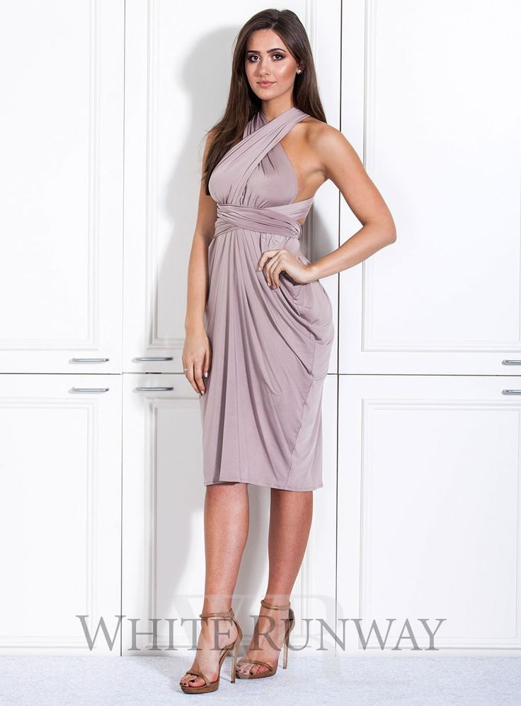 Goddess Cocktail Dress. A beautifully draped multi-way dress. Made of a beautiful poly, spandex blend knit that can be styled over 8 different ways.#multiway #bridesmaid #bridesmaidfashion #whiterunway