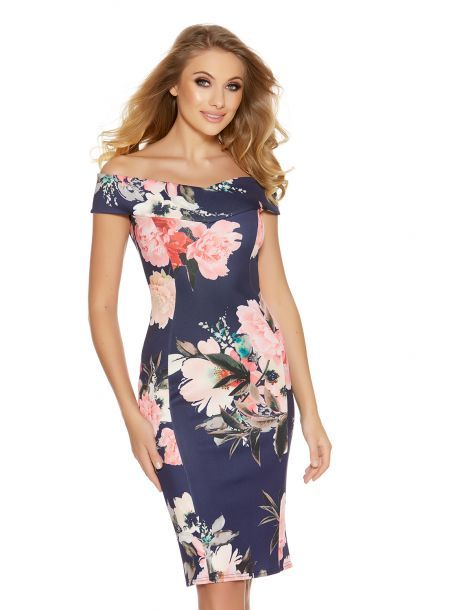 Attractive Navy And Pink Flower Print Bardot Midi Dress