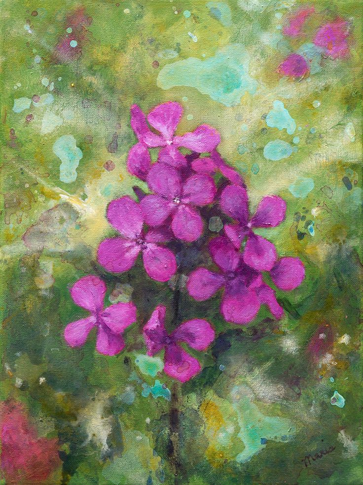 Lunaria - Flower painting by Maria Meester. Oil on canvas
