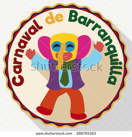 Round button with happy marimonda dancing and enjoying the Barranquilla's Carnival (written in Spanish) in flat style, long shadow and dotted pattern.