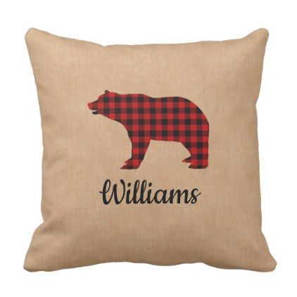 Buffalo Plaid Bear Personalized Burlap Throw Pillow - black gifts unique cool diy customize personalize
