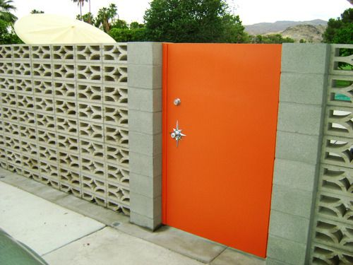 Decorative Screen Block Wall with Starburst Door Escutcheon Plate | Palm Springs, CA - Via