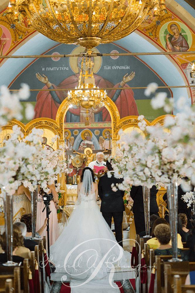 Cherry Blossom Flowers Decorate Toronto Greek Orthodox Wedding