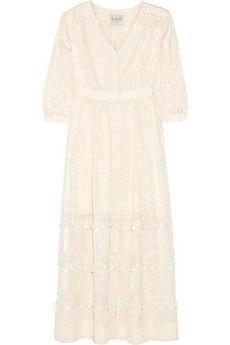 Crochet-trimmed cotton and silk-blend maxi dress