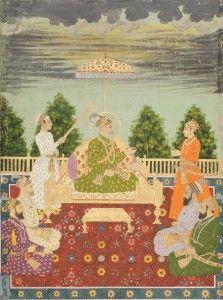 Bahadur Shah I with his sons handing a sarpech to a  grandson, ca. 1710