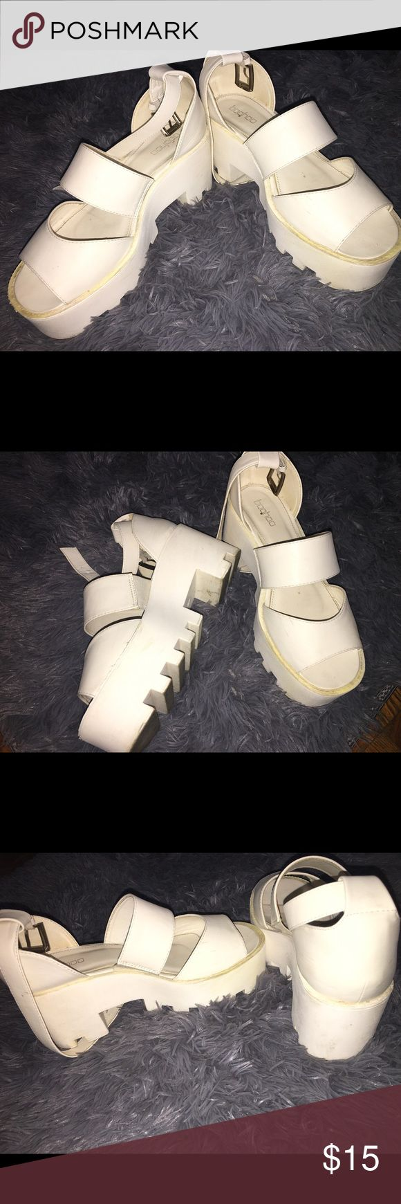 White Platform Shoes These are used white platform shoes. Great for the spring! Boohoo Shoes Platforms