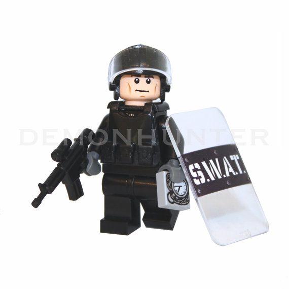 Lego Custom The Walking Dead Glenn Rhee with riot police gear and custom weapon on Etsy, £14.99