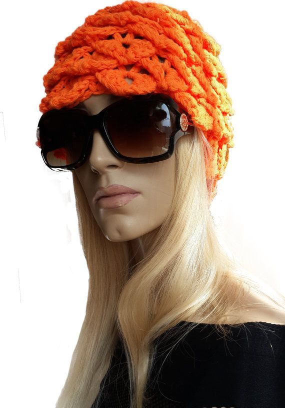 Orange Crochet Crocodile Stitch Hat / Beret by SimArtShop on Etsy