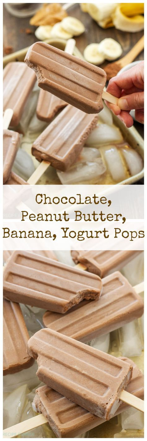 Chocolate, Peanut Butter, Banana, Yogurt Pops | These tasty popsicles are healthy enough for breakfast and sweet enough for dessert!