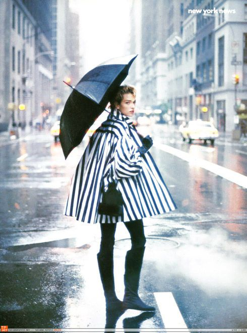 "Rain - ""New York News"" Tatjana Patitz  by Peter Lindbergh from http://la-la-la-bonne-vie.tumblr.com/post/20495684827"