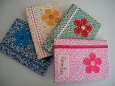 Tia Valéria Lemos: Cadernos decorados com tecido!