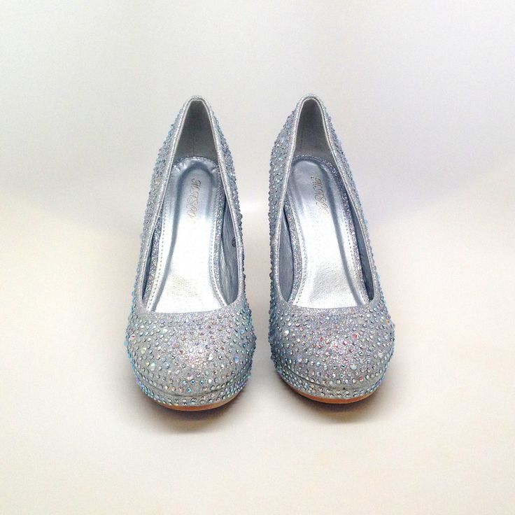 Rhinestone Studded Silver Wedge