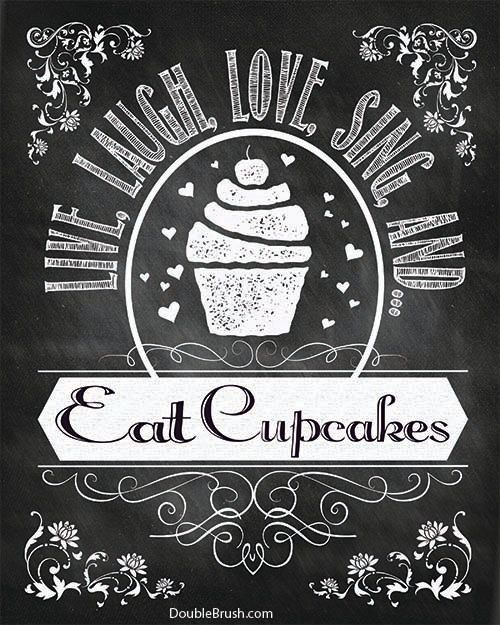 Cupcake Art Chalkboard Art Kitchen Print By HappyHomeDecorPrints