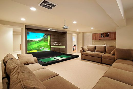 At home in house residential indoor golf simulator for Room remodel simulator