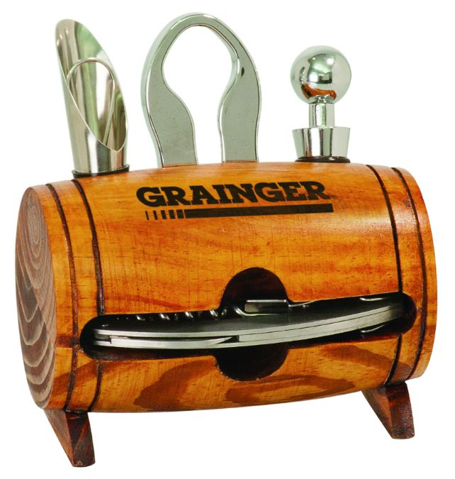 """Barrel 4-Piece Wine Tool Set with stainless steel bottle opener and corkscrew. Unique gift for wine lover! Engrave for the perfect personalized gift. Size: 5 1/8"""" x 3"""" X 5 1/4"""