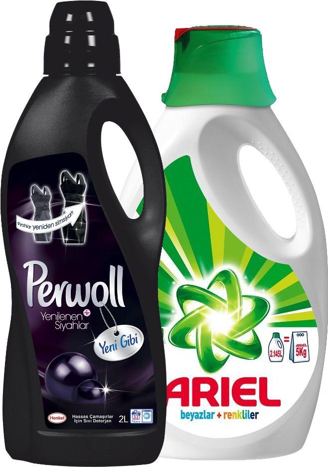 Ariel Sıvı Deterjan 2lt + Perwoll 2 lt Siyah İksir ::