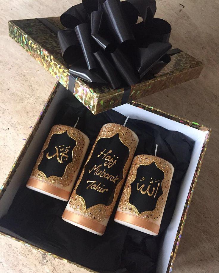 #mulpix Hajj Mubarak candle set #friends #family #personalised #mecca #islam #muslim #hajj #hajj2016 #hajjmubarak #hajjgift #hajjgiftidea #henna #hennaart #hennacandles #gift #giftidea #bow #black #gold #love