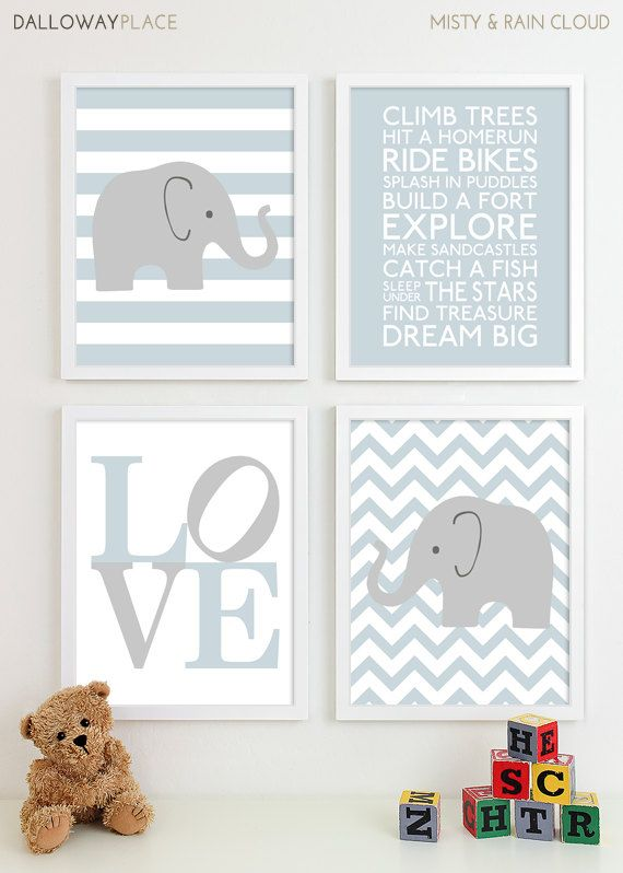 Baby Boy Nursery Art Chevron Elephant Nursery Prints, Kids Wall Art Baby Boys Room, Baby Nursery Decor Playroom Rules Quote Art - Four 11x14. $60.00, via Etsy.