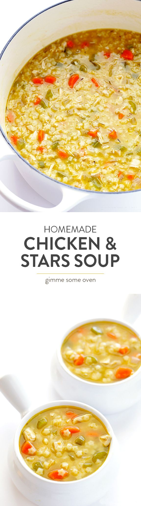 Learn how to make Chicken & Stars Soup homemade with this easy recipe!! It's so delicious, and way better than the canned stuff. | gimmesomeoven.com