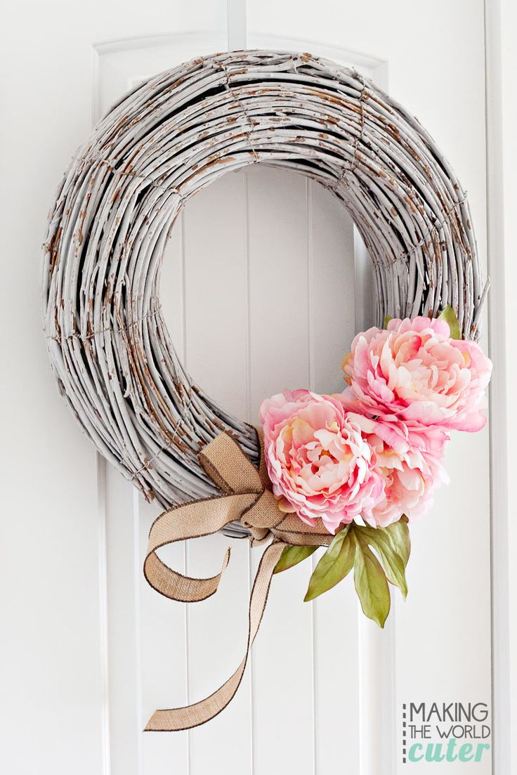 Modern wreaths for front door - Peony Spring Wreath