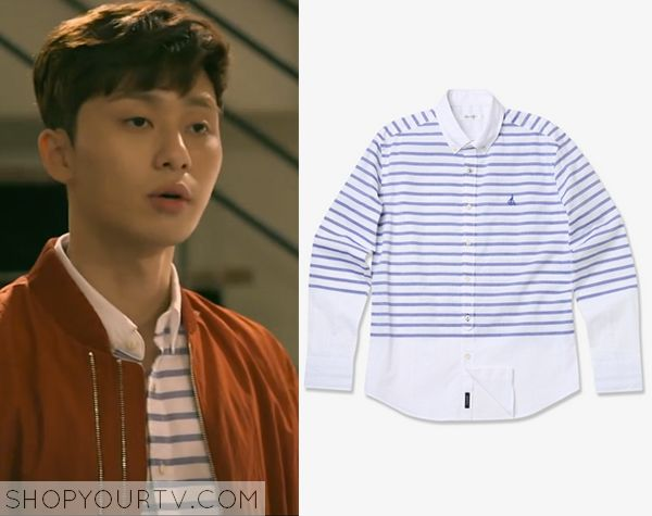 Witch's Romance: Episode 7 Yoon Dong Ha's Blue Striped Shirt - ShopYourTv