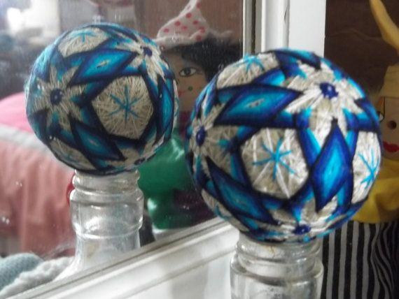 Japanesestyle temari ball white w/ blue diamonds in by debixiyo, $12.50