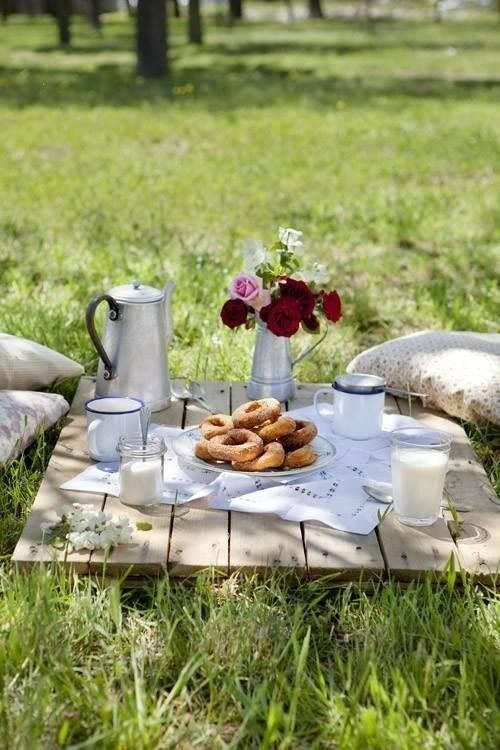 breakfast in the meadow. I love the idea of using a skid as a ground table!