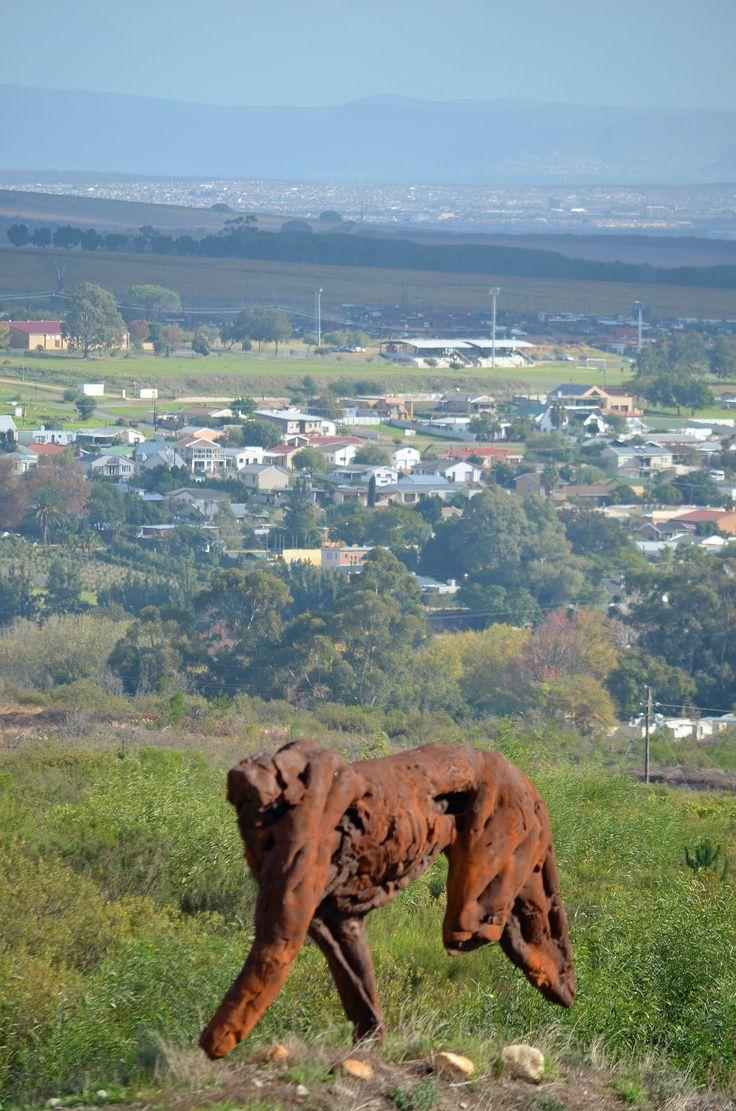 Jamestown (and Eersterivier on the horison)as seen from the Dylan Lewis Sculpture Garden behind Paradyskloof in Stellenbosch.  #Jamestown #Paradyskloof #Erersterivier #Stellenbsoch #SouthAfrica #art #sculpturegarden #dylanlewis