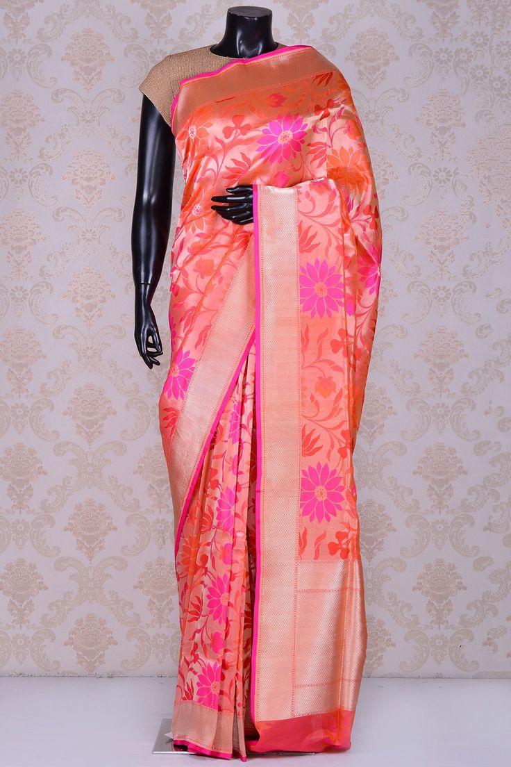 Pink magnificent banarasi silk saree with dull gold border-SR20298