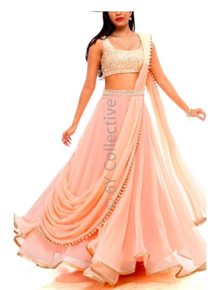 Mirrored prestiched lehenga with waist belt ....