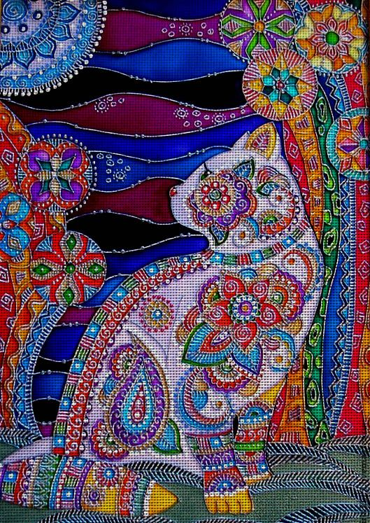 "Needlepoint Canvas ""Moon Cat"". I love the idea but I would tweak the colors."